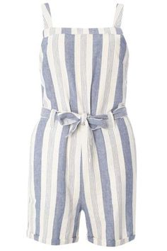 Blue Striped Belted Playsuit