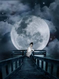 woman under full moon