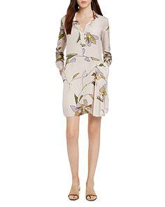 Halston Heritage Floral Silk Shirt Dress