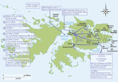 Falklands – troop manoeuvres from 12 May to 10 June; from the SAS raid, to the arrival of the Ghurkas at Fitzroy. Military History Monthly Battle Maps.