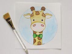 Original painting, giraffe painting, watercolor painting, boy art, nursery art, animal painting on Etsy, $25.00