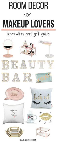 Room decor for makeup lovers - a list of practical, decorative items that any makeup lover would love to own. Use it as a gift guide or glam up your room! #roomdecor #giftguide #makeuplovers