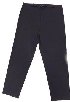 EILEEN FISHER L Black Elastic Waist Slim Ponte Pants Rayon Nylon Spandex Pullon #EileenFisher #SlimPants