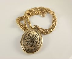 Locket Necklace Vintage Gold Etched Black Enamel Victorian Necklace Mothers Day Antique Lockets Retro Gift For Her Photo Locket Two Pictures by VintageForAges on Etsy