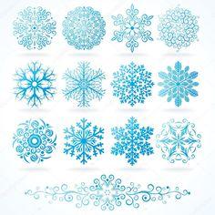 3D vector los copos de nieve, conjunto de festivo decorativos