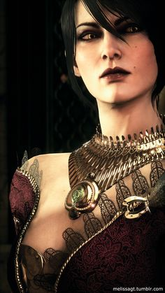 Morrigan - Dragon Age -- Her Halamshiral dress is ON POINT!!