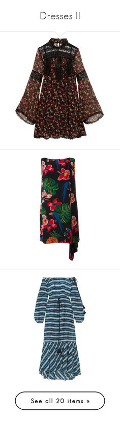 """""""Dresses II"""" by mayblooms ❤ liked on Polyvore featuring dresses, vestidos, multi-color dresses, multi colored dress, short floral dresses, floral day dress, keyhole dress, black, sleeveless dress and long silk dress"""