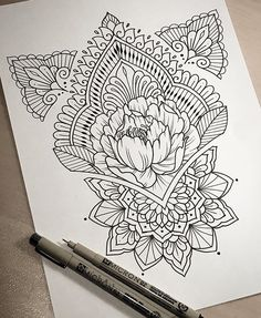 By dominique holmes drawing mandalas arte, dibujos henna, ta Tattoo Sketches, Drawing Sketches, Tattoo Drawings, Sketching, Kunst Tattoos, Neue Tattoos, Mandala Design, Henna Designs, Designs To Draw