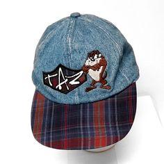 4b95ac7a24c043 Blue Denim Taz Tasmanian Devil Baseball Cap Plaid Bill Elastic Back Looney  Tunes #LooneyTunes #