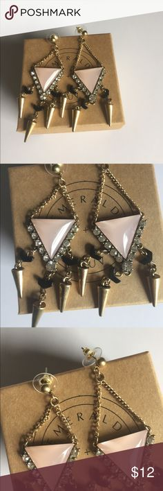 "Pink Triangle Earrings Boutique. About 3"" drop length. NOT KATE SPADE. Just listed for exposure. Jewelry Earrings"