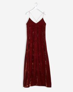 Velvet Strap Dress Warm Red