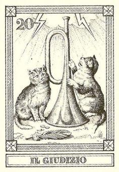 """""""Il Giudizio"""" -- Gatti, by Osvaldo Menegazzi. The deck of 22 tarot cards was published by Il Meneghello in Italy in 1990."""