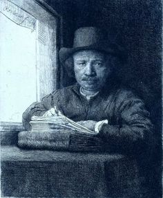 """Rembrandt (1606-1669) """"Rembrandt Drawing at a Window"""" Etching Rijksmuseum, Amsterdam"""
