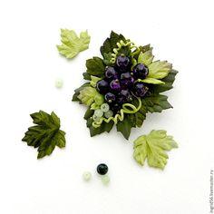 Купить Брошь из кожи и замши Виноград мини фиолетовый - фиолетовый, украшения из кожи, брошь из кожи