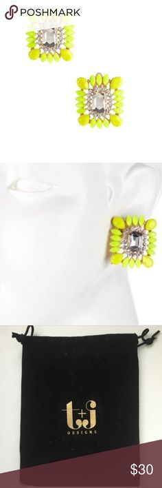 🆕FEATHER FRAME CLIP-ON EARRINGS by T&J DESIGNS With its bright beautiful bold yellow colors these amazing clip -on pairs are perfect against the darker tone color clothes! Pair with a black tunic and leggings let it pop! Made with 18k gold plated metals, glass crystals, and best of all its nickel and lead free for those sensitive ears! Comes with T&J designs beautiful black velvet pouch! T&J Designs Jewelry Earrings