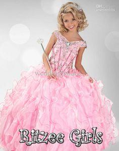 Ball Halter Red Tulle Beaded Little Flower Girl Party Prom Dress ...