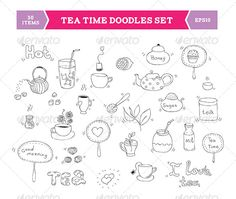 Tea Doodle Vector Elements  - Food Objects