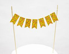 Vintage Ribbon Cake Bunting Yellow Floral by stephlovesben on Etsy, $12.00