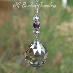 Silver shade hanging crystal with amethyst! #Suncatcher #crystals #prism #amethyst