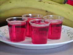 I made these at my last bunco party and they were yummy.  Strawberry, Banana, Rum Jello Shots. Photo by Rita~