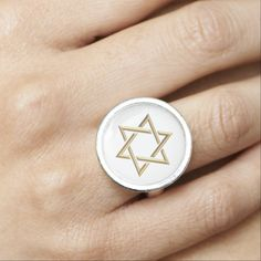 Golden 3-D Star of David Photo #Rings....#starofdavid #Jewish #Judaism #Israel #forsale #Zazzle #Artists4God #religious #religion #golden