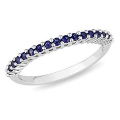 Amour Sterling Silver Round Blue Sapphire Ring