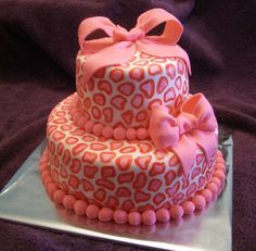 Pink and Red Leopard Print  Baby Shower Cake