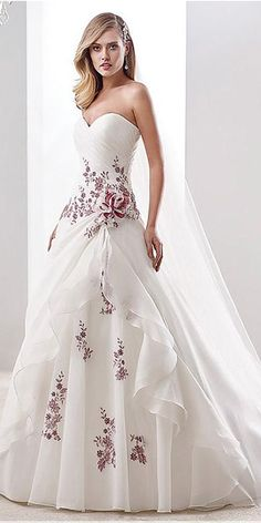 Elegant and sophisticated, this charming wedding dress features a sweetheart neckline and dropped waistline with a lady-like train. Wedding Dress Organza, Applique Wedding Dress, Colored Wedding Dresses, Bridal Dresses, Bridesmaid Dresses, Floral Dress Wedding, Wedding Dress Trends, Dream Wedding Dresses, Wedding Gowns