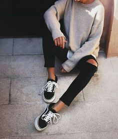vans old skool black ripped jeans grey sweater and shirt... - Total Street Style Looks And Fashion Outfit Ideas
