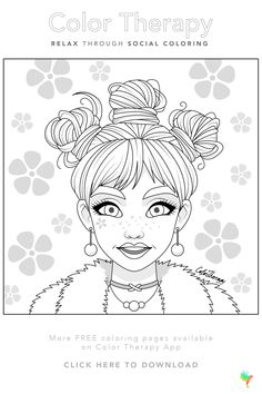 #Free coloring page created by #ColorTherapyApp. Print the page or try coloring in our app today - just follow the image link! #GOTD #ColoringBook #FreeColoringPage #AdultColoring #ColoringCraft #Markers #FreeTemplate #hairstyles #hair #portrait People Coloring Pages, Coloring Book Pages, Barbie Coloring, Colouring, Ring Crafts, Creative Crafts, Animal Drawings, Art Drawings, Doodles