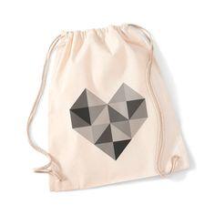 Turnbeutel 'Herzeck' // tote bag, gym bag with geometrical heart pattern by Stadtkrokodile via DaWanda.com