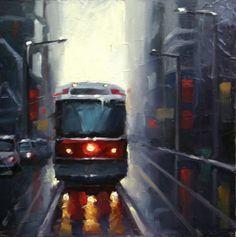 Toronto Streetcar by Catherine Jeffrey Oil ~ 12 x 12 Toronto City, Outdoor Art, Acrylic Art, July 4th, Fine Art, Cityscapes, Artwork, Inspire, Inspiration