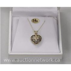 14kt Gold, Diamond and Sapphire Set Puffed Heart Pendant. - Auction Network