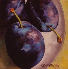 Plums Today by Brian Cameron Purple Painting, Fruit Painting, Photo Macro, Vegetable Painting, High School Art, Painting Still Life, Gcse Art, Pastel Art, Illustrations