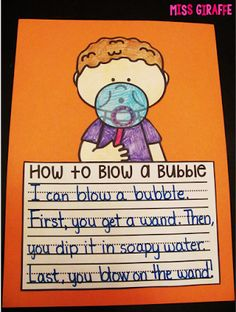 How To writing fun with a craft! How to blow a bubble - girl and boy versions as well as harder writing page options {Writing Crafts that are NO PREP... seriously! blog post}