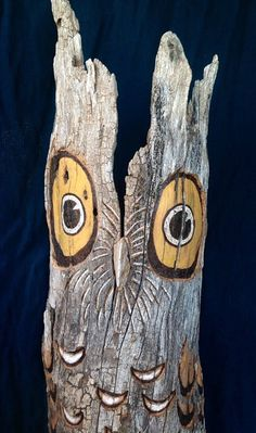 Hamburgers are over Rated  Owl Carving by BluRoot on Etsy, $125.00