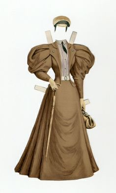 77.6915: Ladies Traveling Suit | suit | Paper Dolls | Dolls | National Museum of Play Online Collections | The Strong Victorian Paper Dolls, Vintage Paper Dolls, Paper Dolls Clothing, Doll Clothes, 1890s Fashion, Vintage Fashion, Barbie, Dress Up Dolls, Online Collections