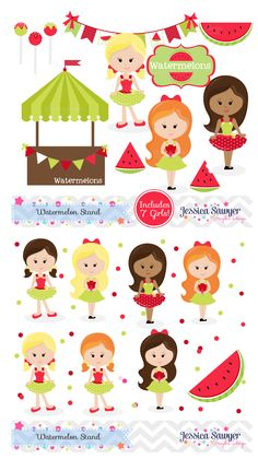 Watermelon Clipart for a Watermelon Party, crafts, personal, and commercial use.