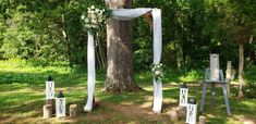 Light brown arbor with white material wrapped around with lanterns and stumps