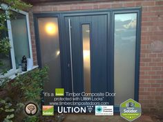 Anthracite Grey Amalfi with Side Panels Solidor Timber Composite Door Grey Front Doors, Front Door Porch, Glass Front Door, House Front, Panel Doors, Windows And Doors, Composite Front Door, Door Images, Privacy Glass