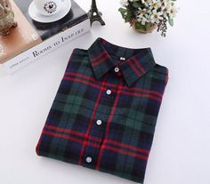 Western Style Green Women's Plaid Shirt