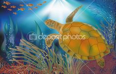 Underwater world wallpaper with turtle, vector illustration — Stock Vector
