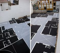 Maider Lopez takes straight to the streets to show you a glimpse of the future, hi house previews painted on parking lots and urban plots in the form of architectural plans.