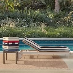 Halden Chaise Lounger Sunbrella(R) Outdoor Cushions, Linen Sand Sunbrella Outdoor Cushions, Outdoor Curtains, Outdoor Fabric, Small Lounge, Outdoor Dining, Outdoor Decor, Dining Table, Outdoor Cushion Covers, Seaside Style
