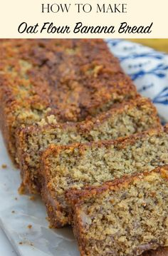 Oat Flour Banana Bread is made with Gluten Free oats, butter, and Greek yogurt, you will love this Gluten Free Banana Bread Recipe. An easy quick bread, this banana bread recipe with oat flour is made in minutes. Oat Flour Banana Bread, Oat Flour Muffins, Oatmeal Flour, Gluten Free Banana Bread, Vegan Banana Bread, Gluten Free Oats, Gluten Free Baking, Gluten Free Recipes, Banana Bread With Oats
