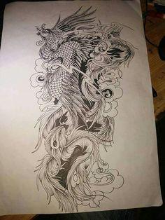 Owl Tattoo Drawings, Tattoo Sketches, Tattoo Sleeve Designs, Sleeve Tattoos, Forearm Tattoos, Body Art Tattoos, Japanese Pheonix Tattoo, Phoenix Tattoo Design, Gaming Tattoo