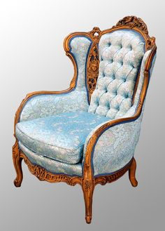 Antique Carved Walnut French Victorian Chair with Heads and Birds