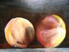 Two Nectarines Fruit painting original art by RichardHarveyAllsop, $127.48