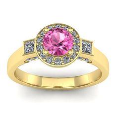 Inel logodna L159GSR cu safir roz si diamante