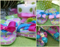 Flip Flop Items | Decorated flip-flops made perfect party favors for our poolside tea ...